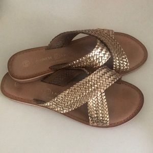Chinese Laundry gold leather sandals